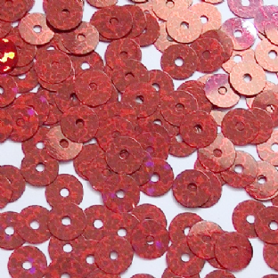 Value Pack 50g 6mm Hologram Red Flat Round Sequins